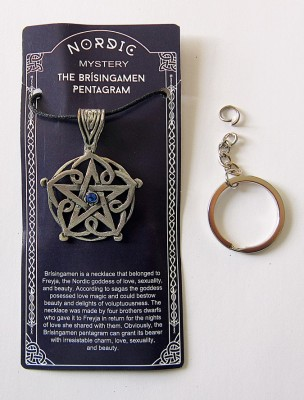 Ciondolo in peltro Brisingamen Pentagram con pietra blu