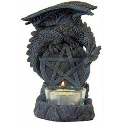 Candle holder Dragon with Pentagram