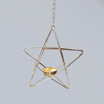 Photophore pentagramme suspendu doré