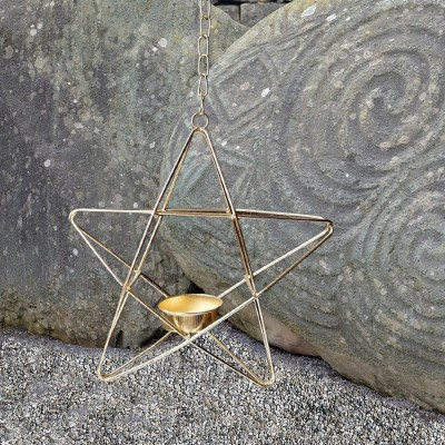 Porta tealight pentagramma da appendere color oro