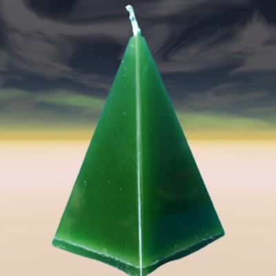 Bougie en forme de pyramide, vert, pour attirer la monnaie