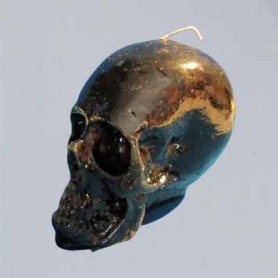 Figura candela per scopi magici - cranio candela nero