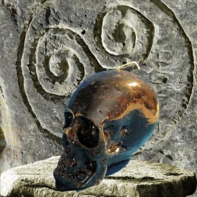 Figurenkerzen für magische Zwecke - Totenkopf Kerze Reversible