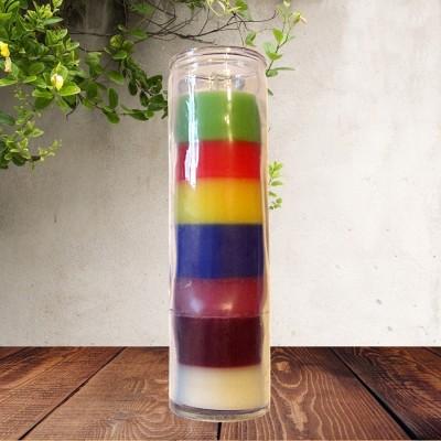 Candela colorata in vetro sette colori