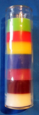 Through coloured jar candles seven colours 1 pcs