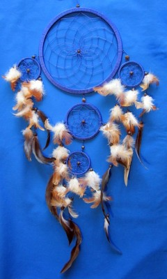 Four Ring Dream Catcher, 17 cm Blue