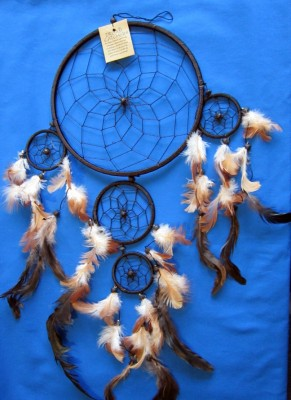 Four Ring Dream Catcher, 17 cm Natural (beige)
