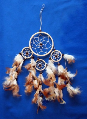 Four Ring Dream Catcher, small Natural (beige)