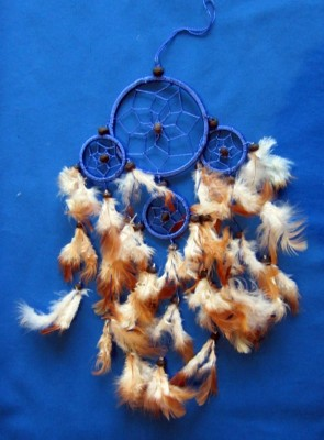 Four Ring Dream Catcher, small Blue