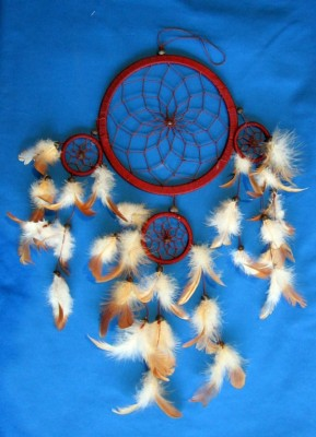 Four Ring Dream Catcher, small Brown