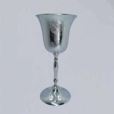 Brass Chalice chromium-plated with Pentagram