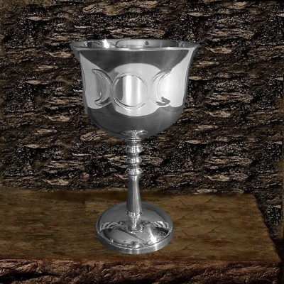 Brass Chalice chromium-plated with Triple Moon