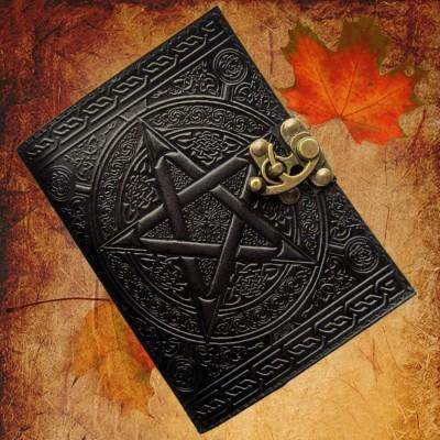 Libro delle Ombre Pentagramma nero con finiture in ottone