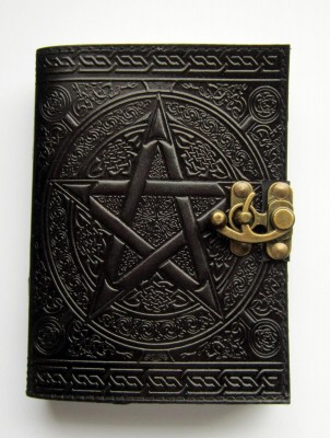 Book of Shadows pentagram black with brass fittings