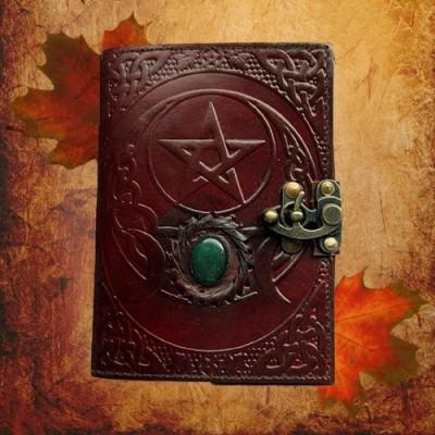 Livre des ombres pentagramme avec triple lune et garnitures en laiton