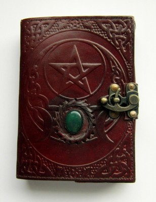 Book of Shadows Pentagram with Triple Moon and brass fittings