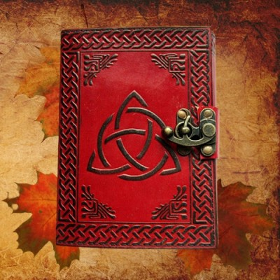 Book of Shadows Triqueta with brass fittings
