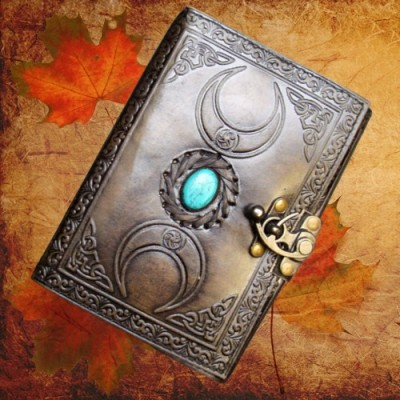 Book of Shadows Triple Moon with turquoise stone