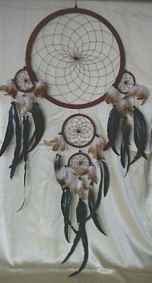 Five Ring Dream Catcher, Big Natural (beige)