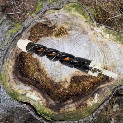 Zauberstab aus Holz mit Kupfer und Bergkristall