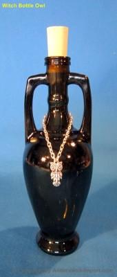 Elixir bottle amphora antique 200 ml with Owl