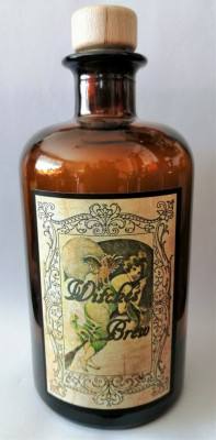 Alchemists Bottle Witches Brew with Owl