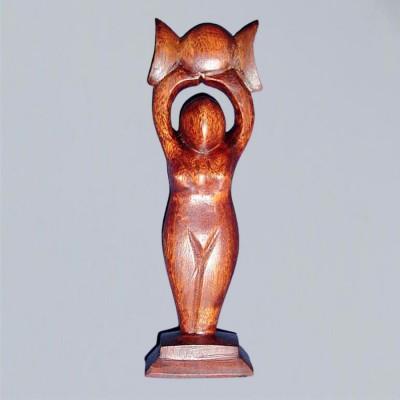 Statuetta da altare Dea della luna tripla del legno