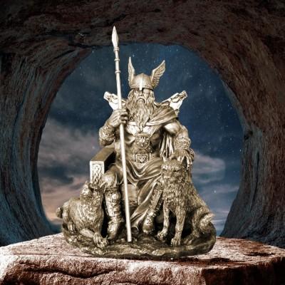 Odin Wotan figure of polyresin bronzed