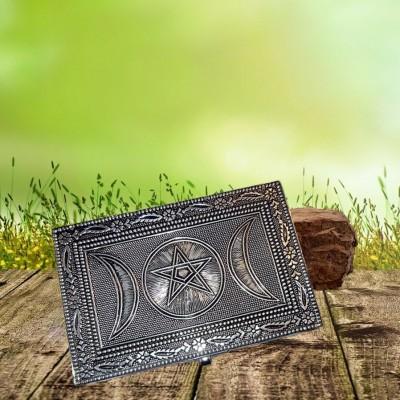 Box Pentagram with triple moon made of metal