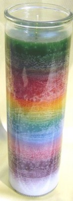 7 Day Glass Candle - Seven Colours PU = 12 pieces