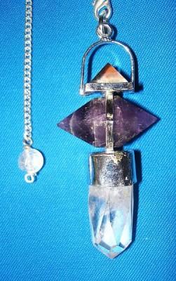 Piramide pendolo con ametista e cristallo di rocca