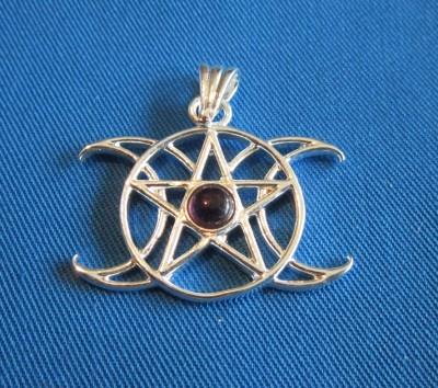 Pendant Pentagram Triple Moon with stone