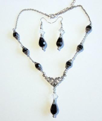 Necklace Dark Night including earrings
