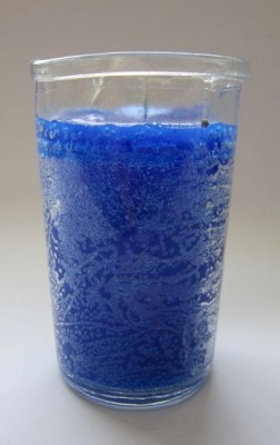 Glass candle element water, blue