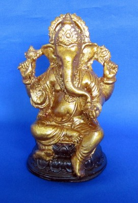 Ganesha oro antico, in Polystone, dipinta a mano
