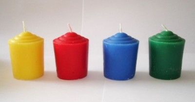 Votive candle through colored, blue