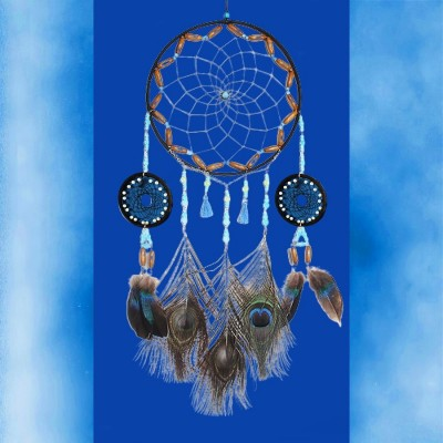 Acchiappasogni con perle e piume di pavone