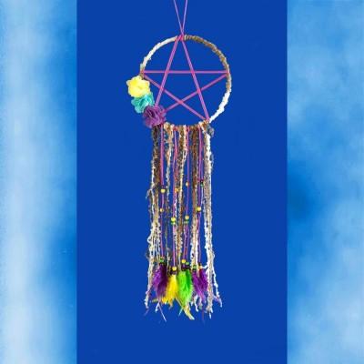 Acchiappasogni Pentagramma con fili di lana