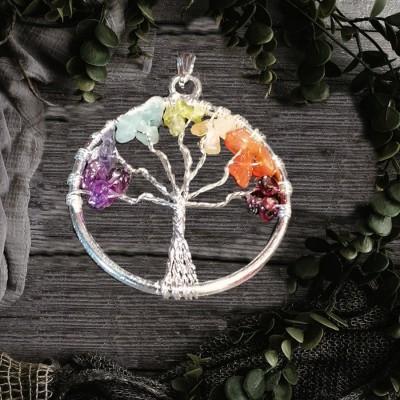 Pendentif arbre de bonheur argent plaqué avec pierres de chakra