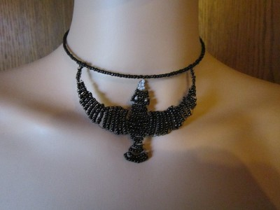 Necklace from glass beads Raven
