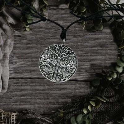 Ciondolo albero della vita con lupi Fenris