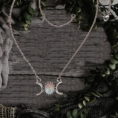Wicca necklace Triple Moon with artificial stone
