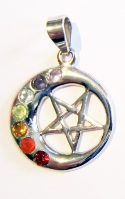 Silver pendant half moon with pentagram and chakra stones