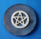 Koro Speckstein rund, grau mit Pentagramm