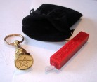 Mini-Petschaft mit Siegelstempel Pentagramm im Beutel