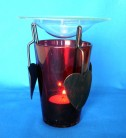 Oil Burner metal-glass, orange