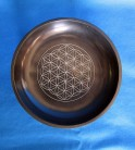 Soapstone bowl black with flower of life