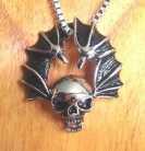 Stainless steel pendant Bat Wings with Skull 3D