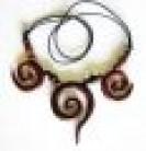 Halskette Spirale, dreifach, aus Holz