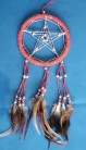 Dreamcatcher mit Pentagramm und Glasperlen, orange